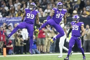 Vikings defensive ends Danielle Hunter, left, and Everson Griffen celebrated during the team's playoff win over the Saints in 2020.