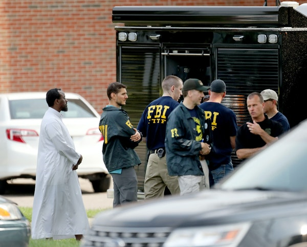 Police and federal authorities investigated the early-morning explosion at the Dar Al Farooq Islamic Center in Bloomington in August 2017.
