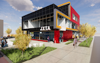 Architect's rendering of the Juxtaposition Arts complex planned for N. Emerson Avenue and W. Broadway Avenue in Minneapolis.