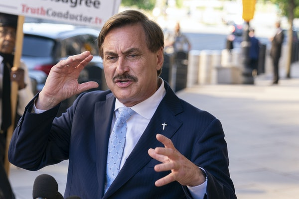 MyPillow CEO Mike Lindell spoke to reporters in June outside federal court in Washington, D.C.