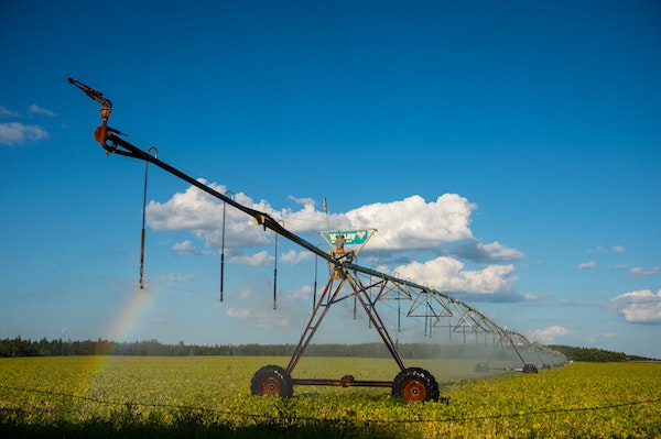 A pivot irrigation system sprayed water onto a soybean crop just south of Park Rapids in 2016.
