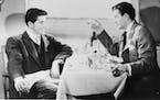 "Farley Granger and Robert Walker in the 1951 thriller ""Strangers on a Train."""