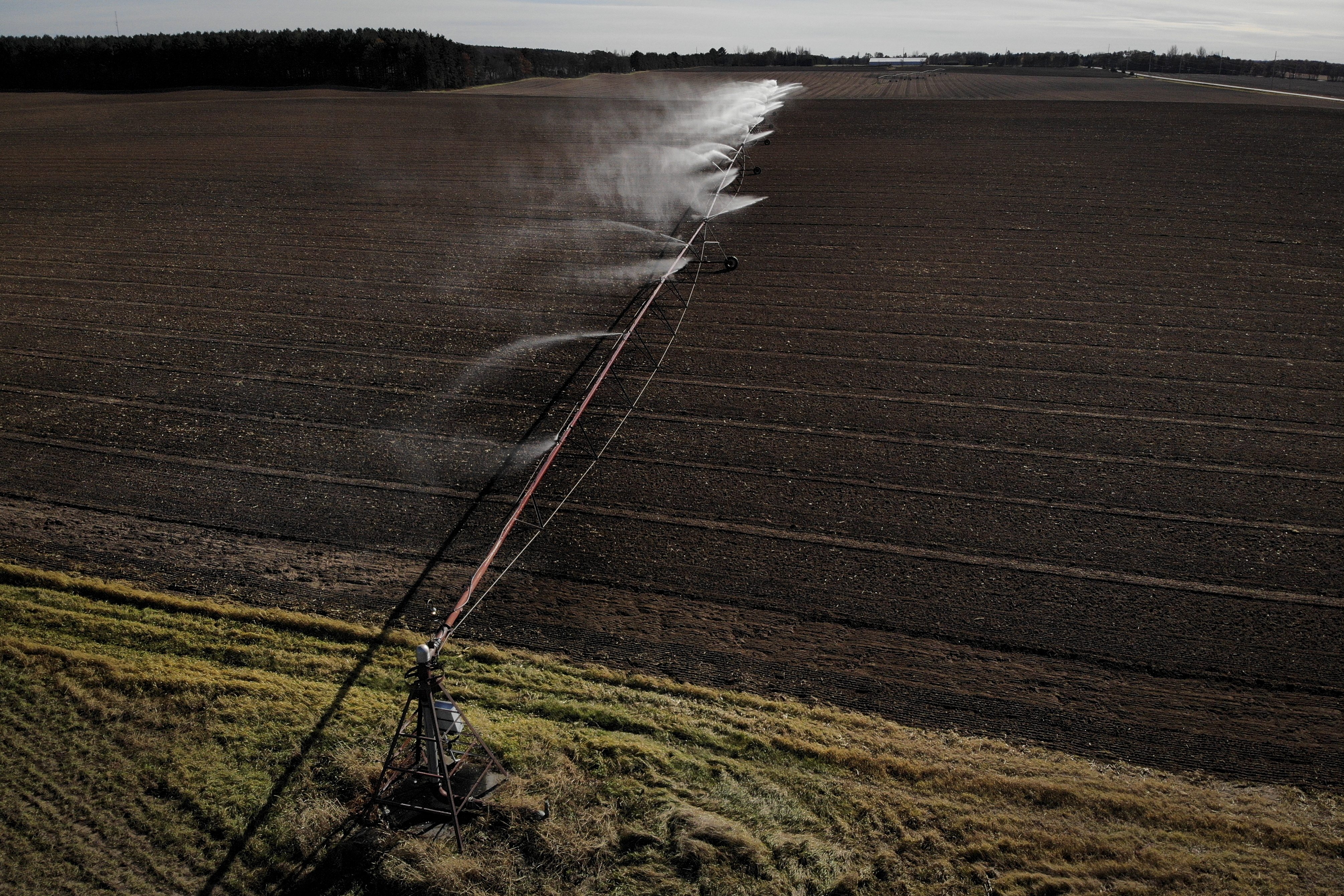 An irrigator was operated on a field in Wisconsin in 2018.