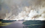 The Greenwood fire burns in northern Minnesota on Aug. 25.