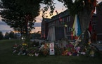 A memorial set up after the discovery of 215 unmarked graves at the Kamloops Indian Residential School in Kamloops, British Columbia, Canada, June 18,
