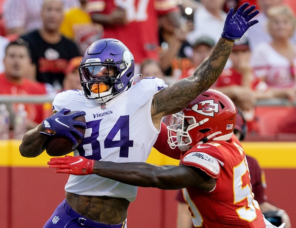 Vikings tight end Irv Smith Jr. had two catches for 39 yards against Kansas City on Friday.