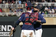 Alex Colome celebrated with Ryan Jeffers after earning a save against the Brewers on Saturday night. The save was Colome's ninth of the season, but
