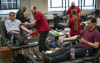 People donate blood in Minneapolis in March 2020.