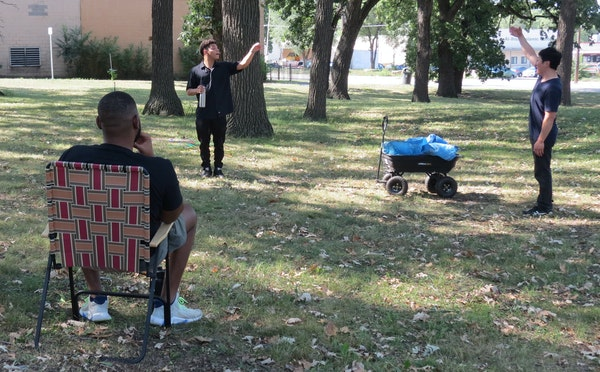 """Actors rehearse """"Hopscotch: Pop-Up Plays About the Future"""" at St. Paul's Frogtown Farm, one of several parks where they'll perform 10 short pl"""