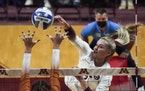 Gophers sophomore Jenna Wenaas (2) spiked the ball against Texas on Sept. 1 at Maturi Pavilion.