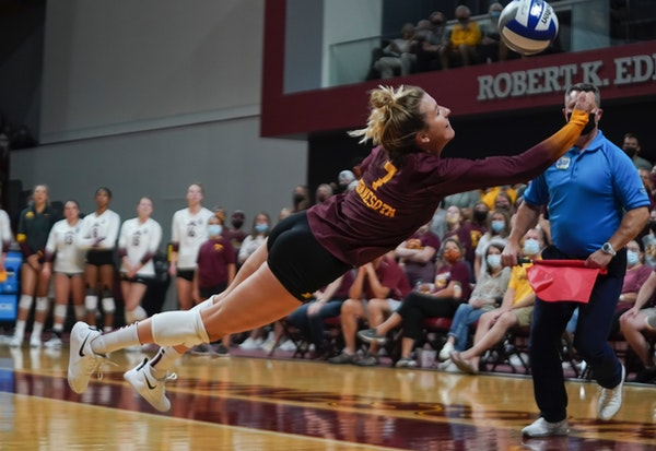 Gophers senior CC McGraw made a diving dig in the team's four-set loss to No. 1 Texas on Sept. 1 at Maturi Pavilion.