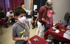 Cooper Johnson, 12, took part in the mask fit-testing at the U of M Driven to Discover Research Facility Wednesday afternoon.