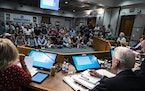 In Minnetonka, Minnesota on August 19, 2021, a near-capacity crowd filled the room. The Minnetonka School Board held a work session and meeting that i