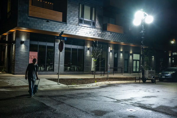 A mobile surveillance/light station has been in place for months on the corner of Nicollet Avenue and 14th Street in Minneapolis to deter crime.