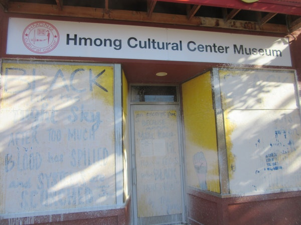 The Hmong Cultural Center in St. Paul was vandalized early Wednesday, September 8, 2021. Photo credit: Mark Pfeifer