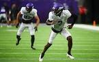 Minnesota Vikings cornerback Patrick Peterson (7) took part in drills during practice Saturday at US Bank Stadium.