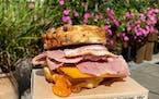 Breakfast sandwich at Honey & Rye Bakehouse.