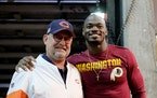 Brad Childress, in 2019 a Chicago Bears senior offensive assistant, and his former star running back Adrian Peterson.