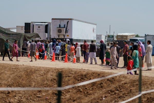U.S. gives 1st look at base hosting Afghan evacuees