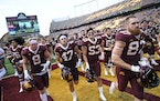 The Gophers jogged to the locker room after last Saturday's 31-26 victory over Miami (Ohio).