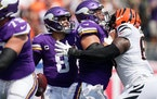 The Vikings offensive line allowed three sacks and struggled overall against the Bengals on Sunday.