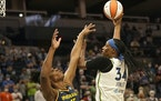 Minnesota Lynx Sylvia (34) shot over  Indiana Fever Teaira McCowan (15) during the first quarter at the Target Center Sunday in Minneapolis.
