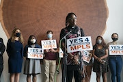 Minister JaNaé Bates of Yes 4 Minneapolis, the political committee that wrote the policing charter amendment proposal, speaking at a news conference