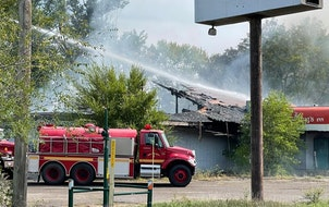 Firefighters work to extinguish a fire at King's Inn on U.S. Hwy. 10 on Sunday, Sept. 12, 2021. (Credit: Watab Township Chairperson Julie Johnson)