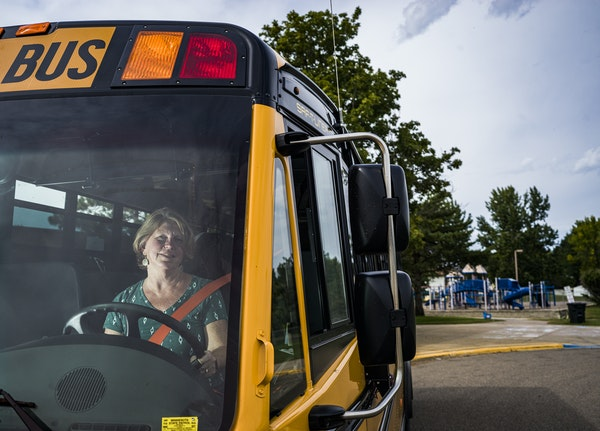 Teresa Jakubowski dropped off the last students on her route Monday in the Rosemount-Apple Valley-Eagan district. She has been driving a bus for nine
