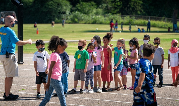 Groups of students rotated through inside and outside classes during a summer school program at Vista View Elementary in Burnsville in June.