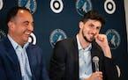 Leandro Bolmaro, right, was introduced at Target Center last week. (Renée Jones Schneider/Star Tribune)