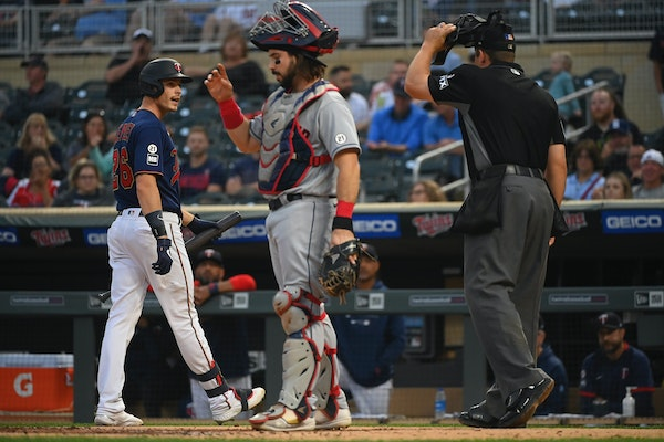 The Twins' Max Kepler exchanged words with home plate umpire John Libka after he was called out on strikes in the second inning of a 12-3 loss to Cl