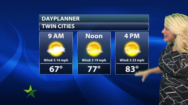 Morning forecast: Warmer, windy, high 84; storms tonight