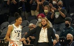 In the waning seconds of Sunday's game, Lynx guard Aerial Powers dribbled the ball while getting a pat from coach Cheryl Reeve.
