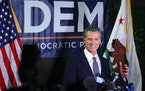 Gov. Gavin Newsom reacted to the news that the recall effort against him had failed Sept. 14, at California Democratic Party headquarters in Sacrament