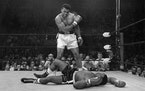 Heavyweight champion Muhammad Ali stands over fallen challenger Sonny Liston in 1965. The legendary boxer and activist gets the Ken Burns treatment in