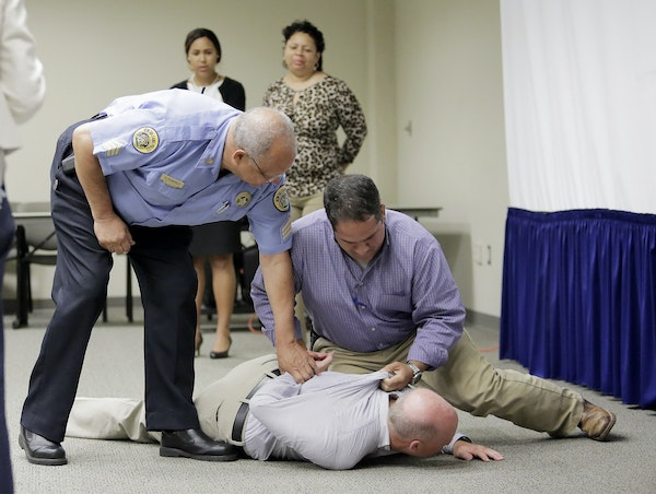 New Orleans police officers took part in 2017 in a new peer-intervention training program, which teaches officers to police each other by intervening