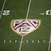 The Pac-12 logo, as seen at Sun Devil Stadium in Tempe, Ariz.