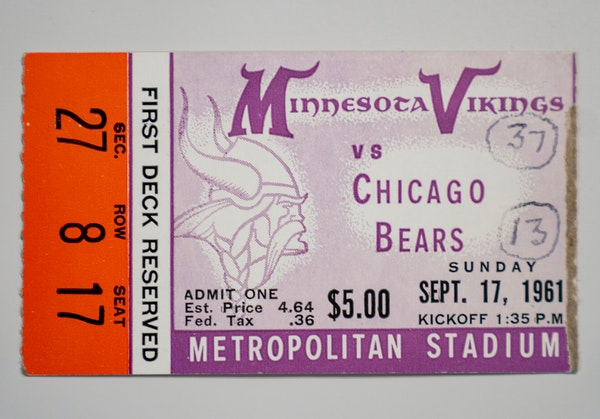 A ticket stub from the Vikings' first regular-season home game on display at the Vikings Museum in Eagan.