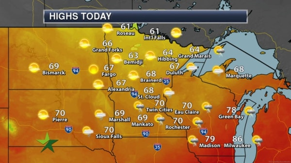 Morning forecast: Storms move out; cooler, high 70