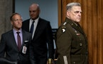 General Mark Milley, the chairman of the Joint Chiefs of Staff, arrives to testify before the Senate Armed Services Committee in Washington on June 10