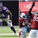 One of the biggest matchups on Sunday: Vikings left tackle Rashod Hill (left) vs. Cardinals pass rusher Chandler Jones (right).