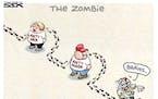 Sack cartoon: Zombie on the hunt