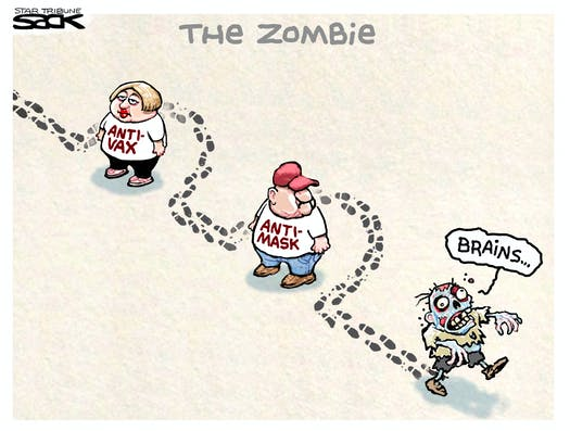 Caption:  The Zombie.  Image:  Zombie staggering along saying,