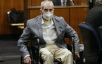 In this Sept. 8, 2021, file photo, Robert Durst looked at people in the courtroom during his trial in Inglewood, Calif.