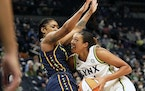 Lynx forward Napheesa Collier drives to the basket while defended by Indiana guard Victoria Vivians on Sunday. The teams played again Friday.