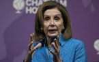 The Speaker of the United States House of Representatives, Nancy Pelosi, speaks at Chatham House, the Royal Institute of International Affairs, in Lon