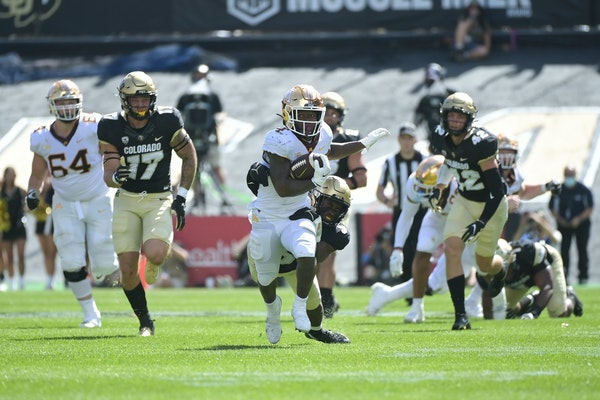 """Gophers running back Mar'Keise """"Bucky"""" Irving ran for a first down in the fourth quarter of last Saturday's win at Colorado."""