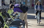 A student grabbed a Nice Ride bike to get around the University of Minnesota last week.