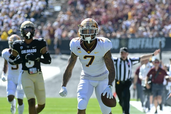 Gophers wide receiver Chris Autman-Bell reacted after catching the ball for a first down in the second quarter Saturday.